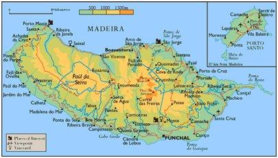 Madeira kartta - Madeiran pääsaaren kartta